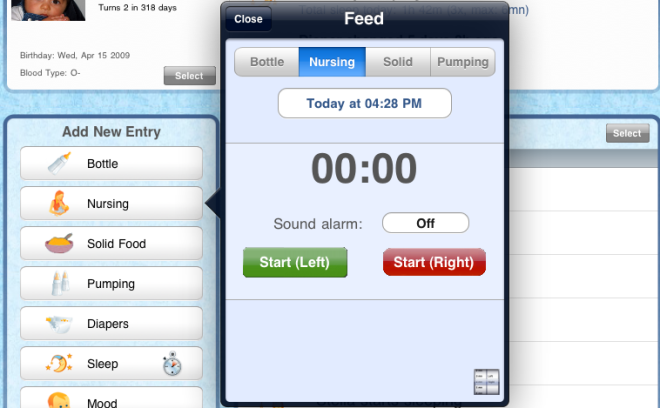 Nursing tracker for iPad